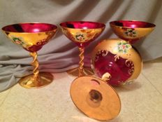 Old 4 Cups enamelled glass of Venice on foot