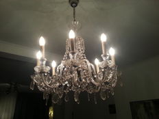 crystal eight light chandelier, second half 20th century