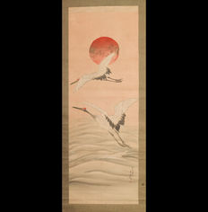 """A hand-painted hanging scroll  """"Two Cranes under Rising Sun""""  by  Anon  - Japan  -  end 20th century"""