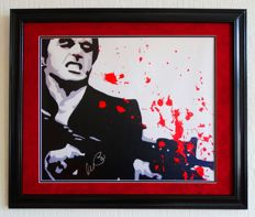 Scarface - Al Pacino / Tony Montana original signed Canvas - Premium custom framed + Certificate of Authenticity from PSA