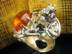 """""""Frog Prince"""" silver sterling ring with opal amber handiwork 1999"""