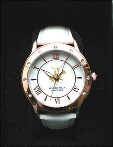 Quartz Beverly Hills Polo Club ladies' watch - strap in white leather - new