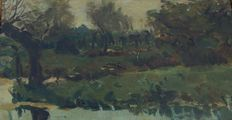 Hague school, unknown (19th/early 20th century)-landscape with pollard willows on the water