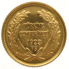 Turkey - 25 Kurush 1923/75 – gold