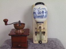 Two beautiful Porcelain and wood-decor coffee grinders - mill and farm