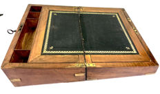 A mahogany stationery box  inlaid with black leather with gold imprint, England, circa 1920