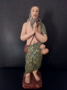 Religious Art, Rare Statuette of John the Baptist in Antique Porcelain from the First Half of the 20th Century