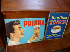 2 great advertising signs: Priora Mena and Krikox bouillon - from the 60s of the last century.