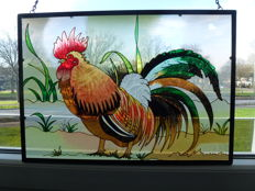 Glass and window with a hand-painted rooster depicted