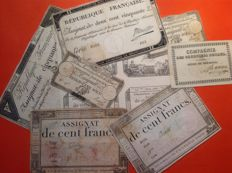 France - Lot of Assignats from the French Revolution (11 items)