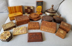 Collection of 17 ornate wooden boxes