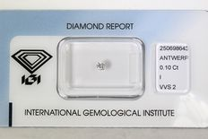 0.10 ct Brilliant-cut diamond - I/VVS2 NO RESERVE PRICE