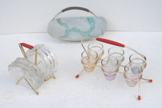 Rack with 6 colored shot glasses, holder for 6 coasters for wine glasses, nuts basket.