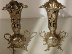 Set of silver vases with ears, standing on four legs, the Netherlands, 1896
