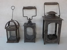 Lot of three ancient Italian wrought iron candle lamps, 18th/19th century