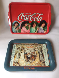 Coca Cola No1 USA - California 2 Metal Trays with art that first appeared in 1904' - 70 and 80s - 20th century.