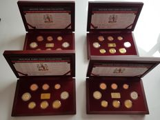 Malta – Lot of 4 cases (8 coins + ingot) BU 2008