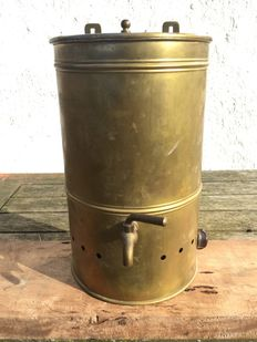 Antique yellow-brass hot water boiler, with tap. 19th century