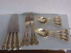 16 part gold-plated silver flatware set, Germany or Austria, approx. 1750