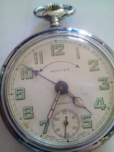 Mentier brand men's pocket watch with alarm, from the 1930s.