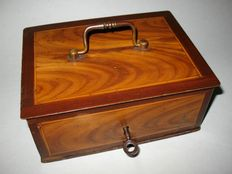 Antique metal box money box with painted in wood pattern