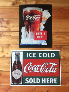 two large collectors ,Coca Cola advertising signs Rarity ,,HAVE A COKE,, emission : made in USA 1997