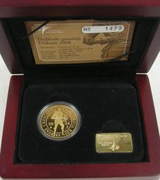 The Netherlands - double ducat 2008, gold in coffer with certificate KNM.