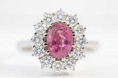 White gold entourage ring with intense pink natural sapphire