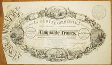 France - Compagnie Maritime La Flotte Commerciale Societe en commandite - DECO Aktie Share 50 Francs 1852 - designed by Catenacchi