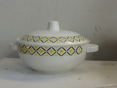 Soup tureen in white faience with a nice geometric pattern, yellow and black, vintage 1950