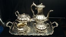 James Dixon & Son, c. 1890, Silver plated Teaset & Oneida, Silver plated Tray, Made in USA & England