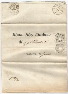 Historical Italian States, Sardinia, 1861 – 2 x letters with pair of 1 Cents + letter with 10 Cents and 5 Cents + letter with 20 Cents