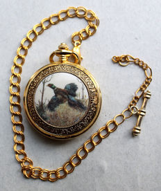 "Franklin Mint - Pocket Watch - ""Fasan"" (pheasant) - with chain - 24 k gold plated"