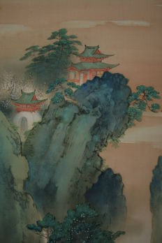 "Scroll painting "" Mount Penglai - Horai "" signed Kinpo  - Japan - early 20th century"