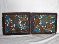 Pair of carved lacquered wood panels - China - 19th century