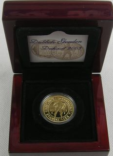 The Netherlands - double ducat 2003, gold in coffer with certificate KNM.