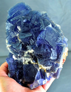Natural Step Growth Neon Blue Fluorite crystals -  171 x 127 x 77 mm - 2888gm