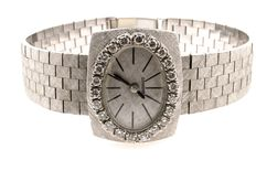 Longines watch in 18 kt white gold and diamonds, 1950