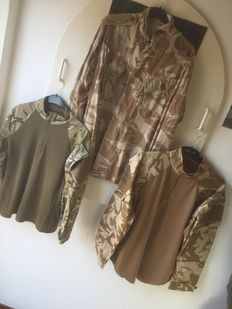 British army desert DPM UBACS and MTP PCS shirt M and a desert shirt M from the period of the Gulf war - 20th/21st century.