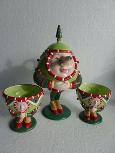 Lot of Alice in Wonderland style department teapot with two cups