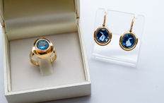 10.90 Grams 14K yellow gold ring and earrings with blue topaz