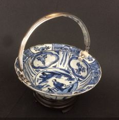 Blue and white bowl with silver handle - China - 17th century (Wanli period)