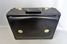 Black leather pilot bag/case with combination lock