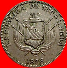 Republic of Nicaragua - Lot of 4 coins of 1 centavo, copper-nickel. 1878. (4).