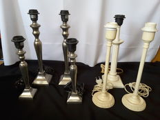 Lot of seven table lamp stands - three in Baroque style - four silver plated
