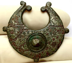 Rare Ancient Roman Brooch Shaped as Pelta Shield (Amazon Shield) - 36 mm