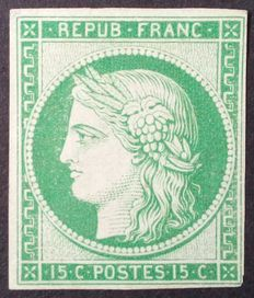 France 1850 – Cèrès non-perforated, 15 c. light green, reprint, signed Jacquart – Yvert no. 2e.