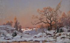 Adrien Schulz. (1851-1931) - A winter landscape at sunset.