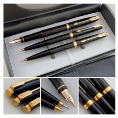 Parker 75 Black Lacquer GT Pen Set - Fountain Pen + Ballpoint + Pencil + Leather Pouch