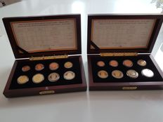 Belgium – Lot of 2 cases (2x8 coins) proof 2002 & 2003